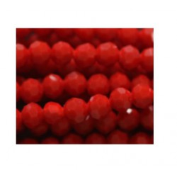 Perle cristal 4mm facette rouge opaque