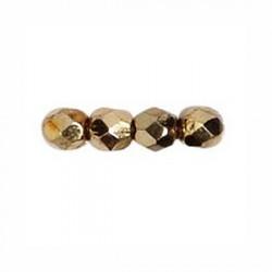 Perle facettes verre 3mm doré métallisé