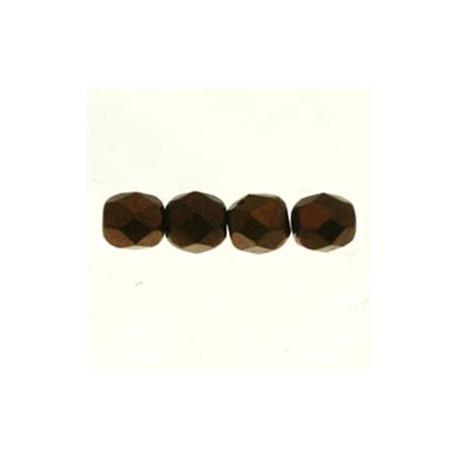 Perle facettes verre 4mm bronze clair