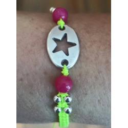 Bracelet macramé plaque étoile métal