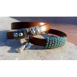 Bracelets cuir, suédine strass, métal et lin