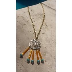 Collier chaine métal et perles
