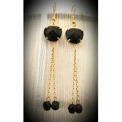 Boucles d'oreilles chaîne et intercalaire métal