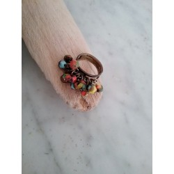 Bague perles multicolore