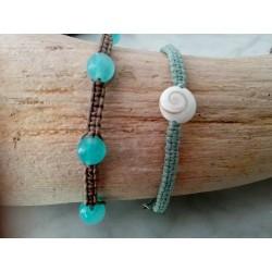 Bracelet macramé jade et coquillage