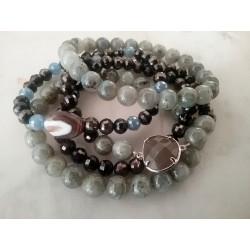 Bracelets pierres, cristal et intercalaire métal