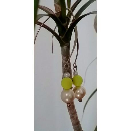 Boucles d'oreilles perles et fermoir ellipse