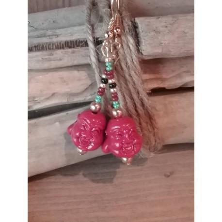 Boucles d'oreilles bouddha gorgone