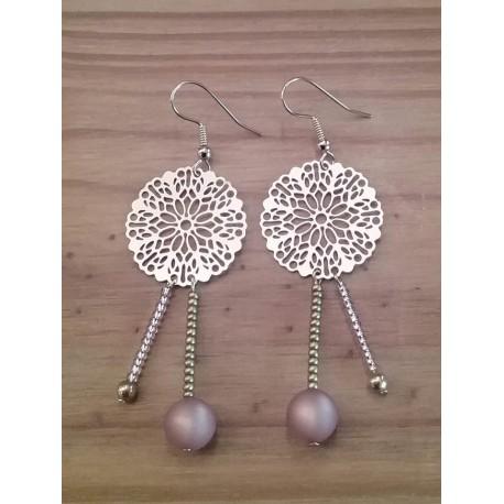 Boucles d'oreilles rosace métal