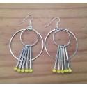 Boucles d'oreilles anneaux, tubes métal et facette verre