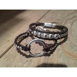 Bracelets wrap cuir et perles métal