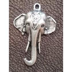 Pendentif éléphant métal argenté 5cm