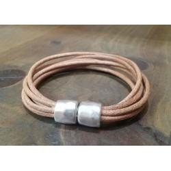 Bracelet cuir naturel  fermoir aimanté métal agenté