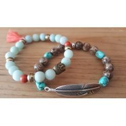 Bracelets pierres semi-précieuses Bouddha et plume