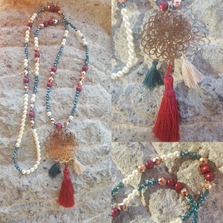 Sautoir perles de verre et cristal