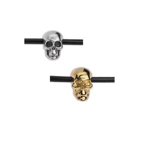 Tête de mort perle métal argenté et doré
