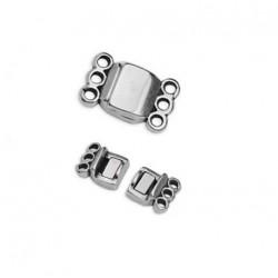 Fermoir magnétique métal 3 rangs argenté / bronze