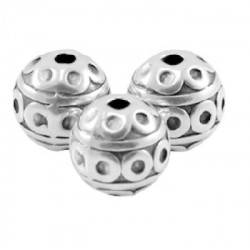 Perle métal ethnique 8mm arg/ bronze