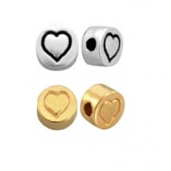 Perle métal coeur 7mm arg / doré