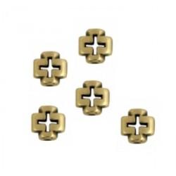 Perle métal croix 8x8mm bronze