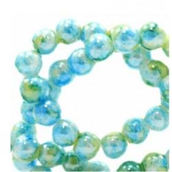Perle verre ronde 8mm turquoise et vert
