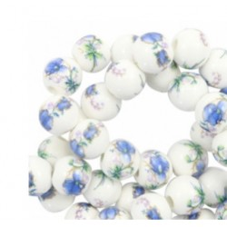 Perle céramique 10mm fleur blanc bleu