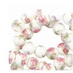 Perle céramique 10mm fleur blanc rose