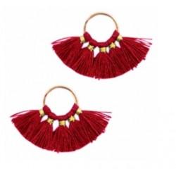 Pendentifs pompon doré-rouge