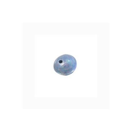 Perle céramique 8mm bleu gris émaillé