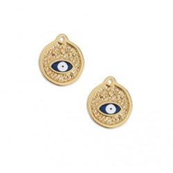 Médaille métal œil doré 15 x 17.5 mm