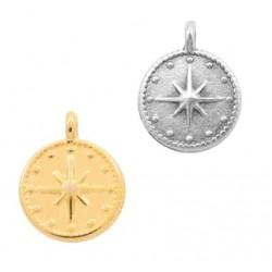 Médaille métal étoile galaxie 12mm doré