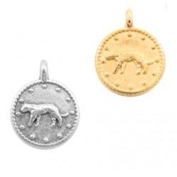 Médaille métal léopard 12mm doré/ argenté