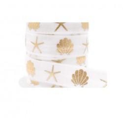Ruban élastique coquillage étoile de mer Blanc-doré