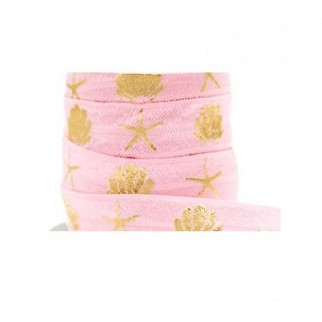 Ruban élastique coquillage étoile de mer rose-doré