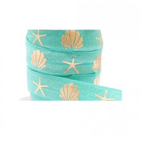 Ruban élastique coquillage étoile de mer turquoise-doré