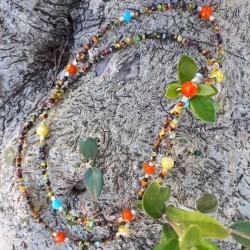Sautoir perles verre multi