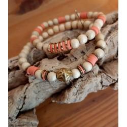 Bracelets rondelles terracotta et bois