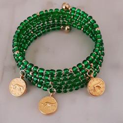 Bracelet multi-tours verre et doré