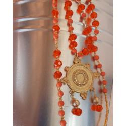 Sautoir cristal orange et métal doré