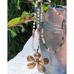 Sautoir pendentif fleur métal