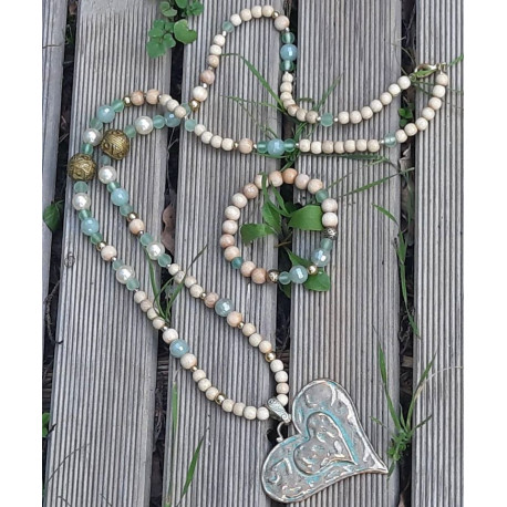 Sautoir et bracelets bois et cristal