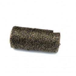 Coton ciré plat 1mm noir/doré