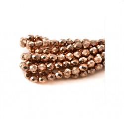 Perle facettes verre 4mm rose gold métallisé