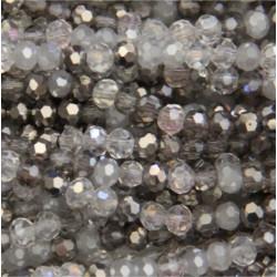 Perle cristal 4mm gris mixte