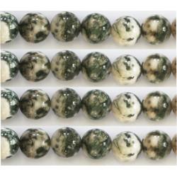 Agate vert kaki blanc8mm