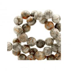 Perle Jaspe gris naturel marron 8mm