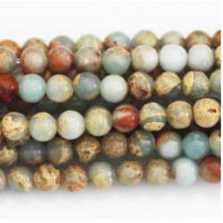Perle Jaspe turquoise beige 8mm