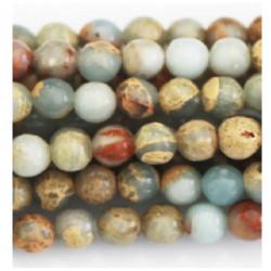 Perle Jaspe turquoise beige 10mm