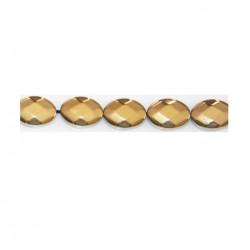 Perle ovale Hématite doré