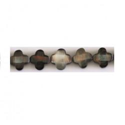 Perle nacre trèfle 10mm noir